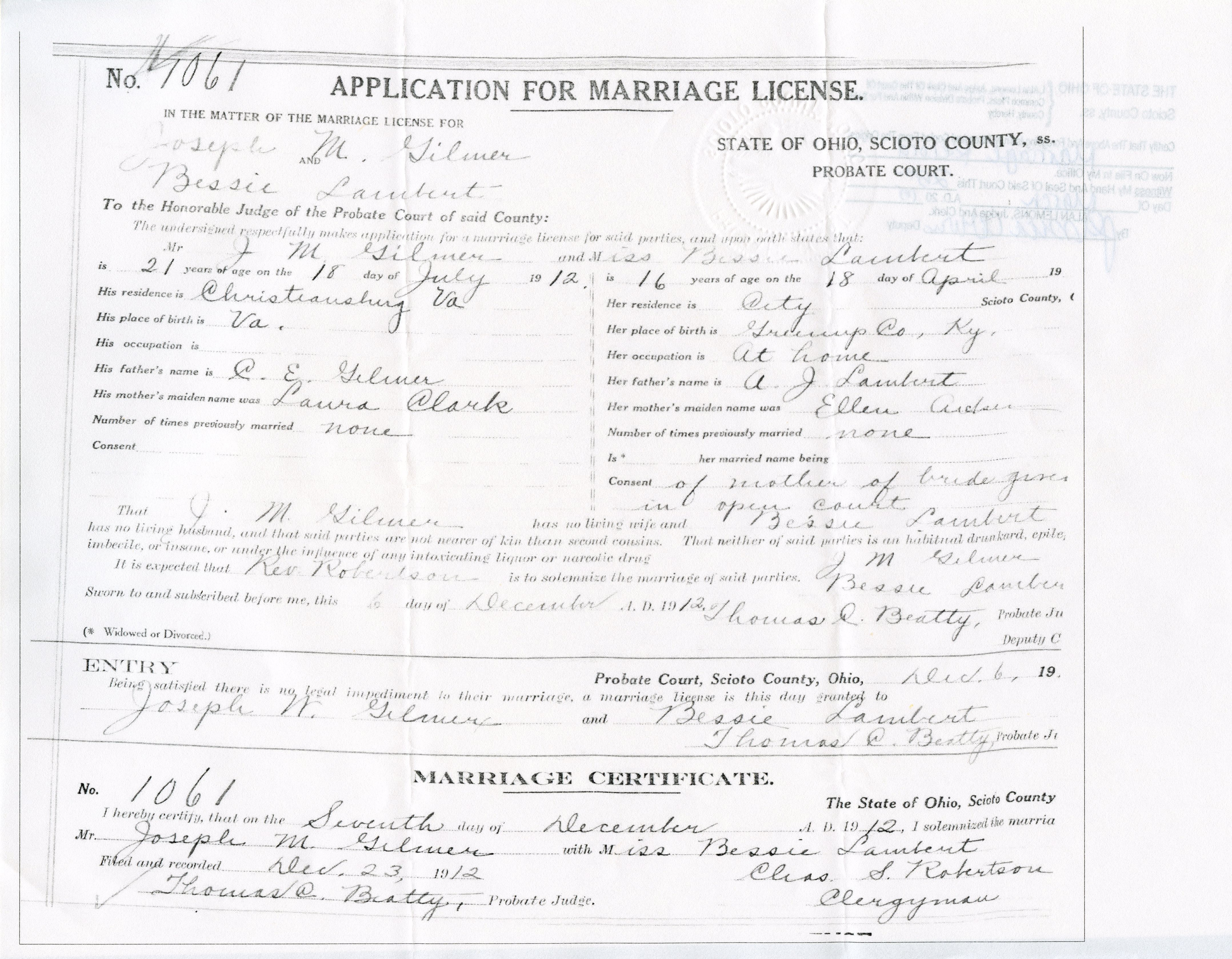 Nazdar digital genealogy archives relatives of the eicher family marriage certificate 1betcityfo Image collections