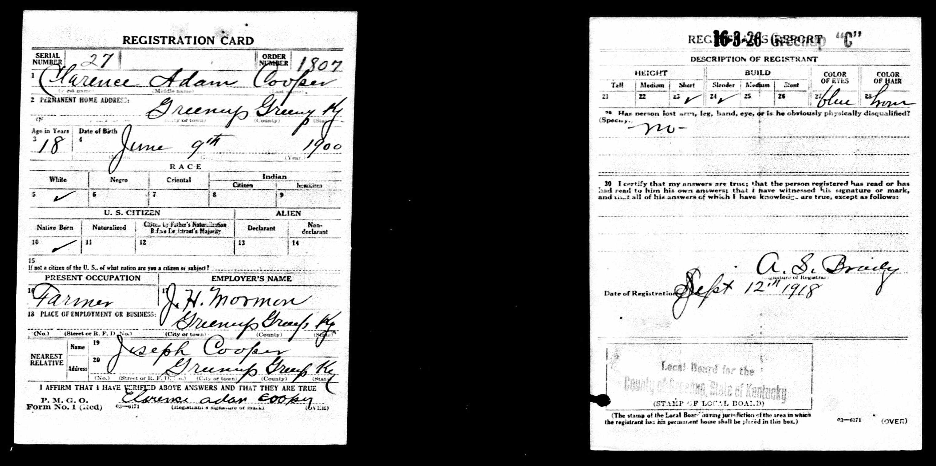 Nazdar digital genealogy archives relatives of the eicher family marriage certificate of son 1926 joseph s cooper is listed as the father of clarence adam cooper aiddatafo Images