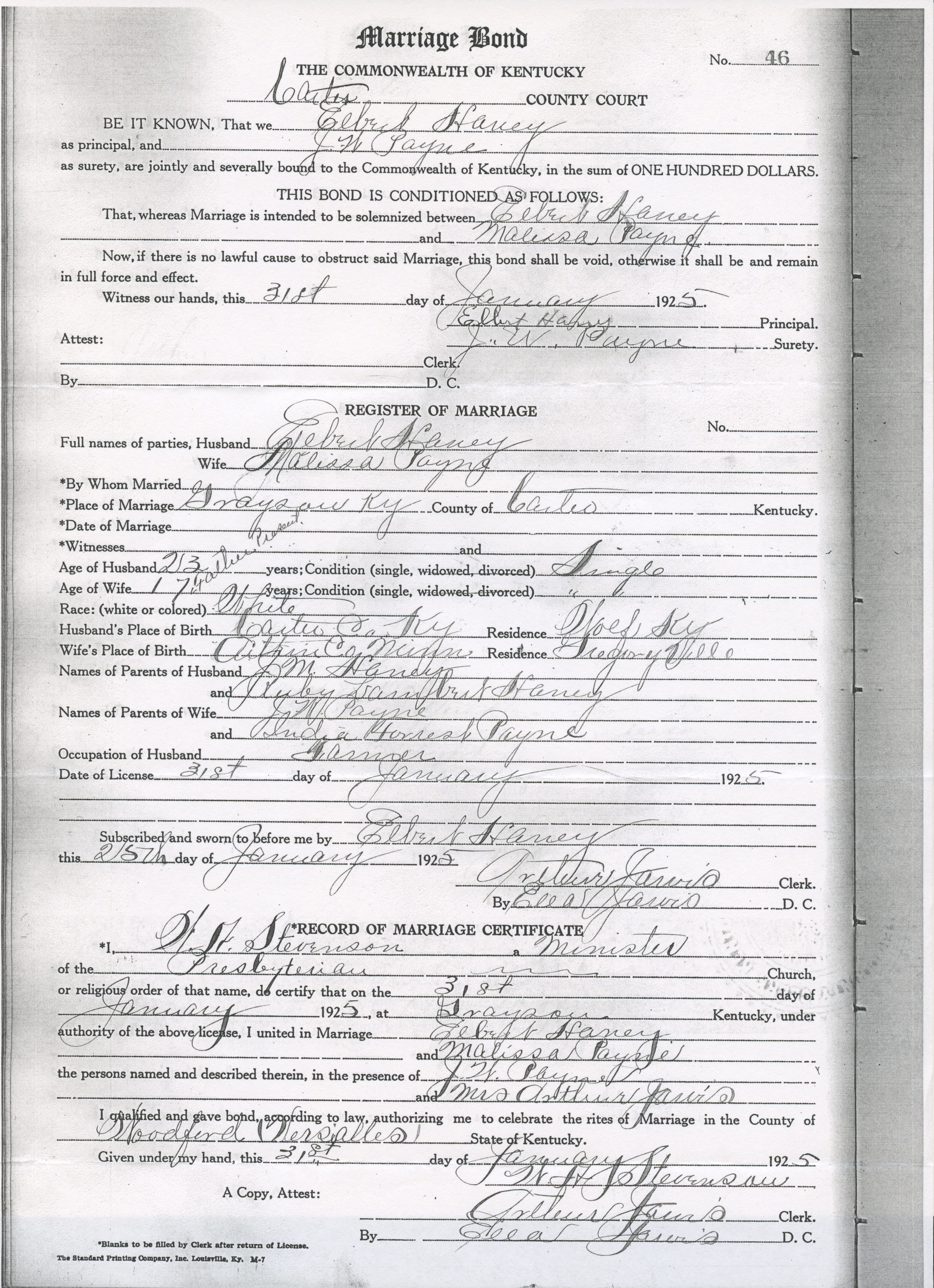 Nazdar digital genealogy archives relatives of the eicher family marriage certificate xflitez Gallery