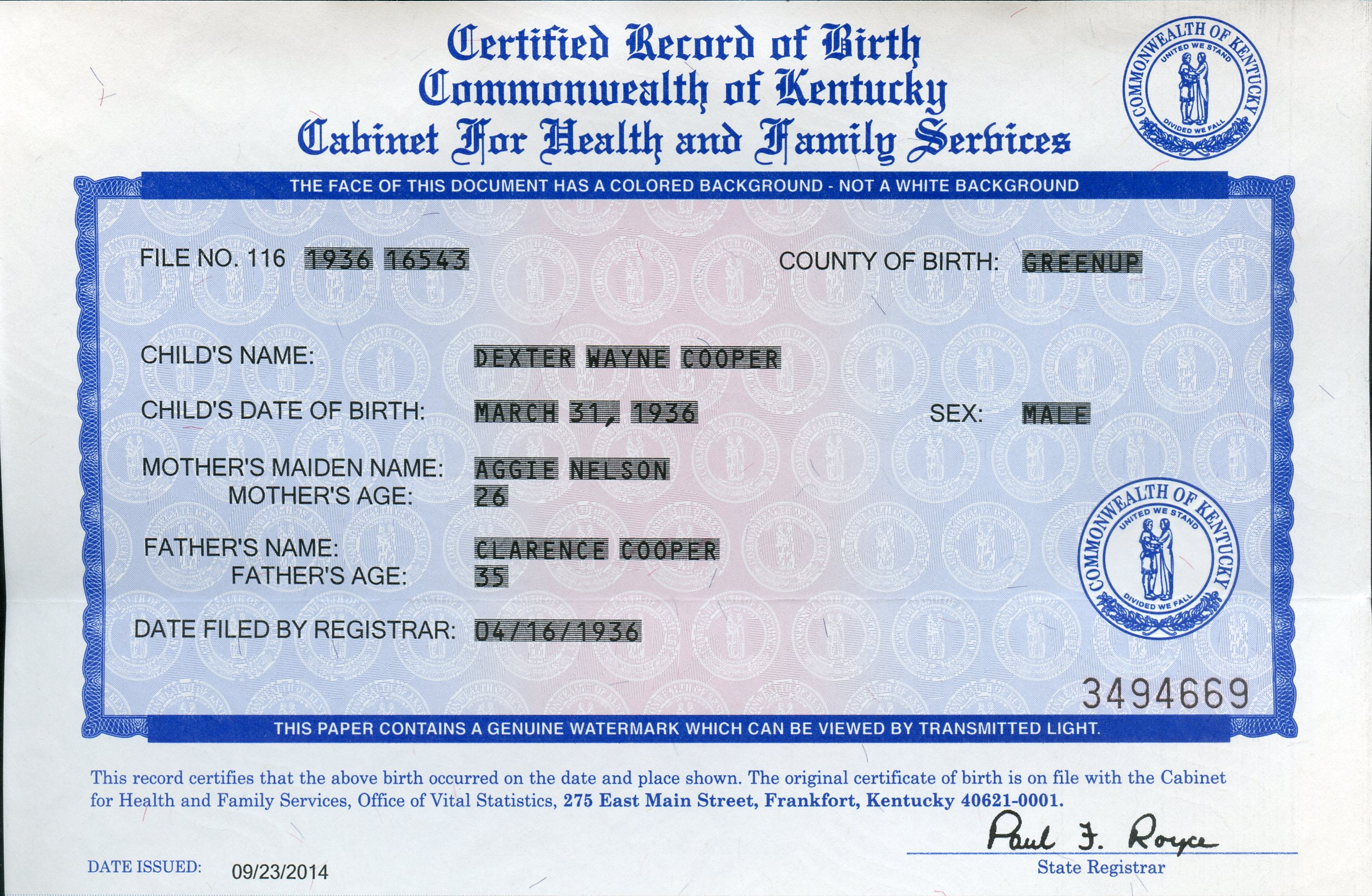 Nazdar digital genealogy archives relatives of the eicher family birth certificate of son xflitez Gallery