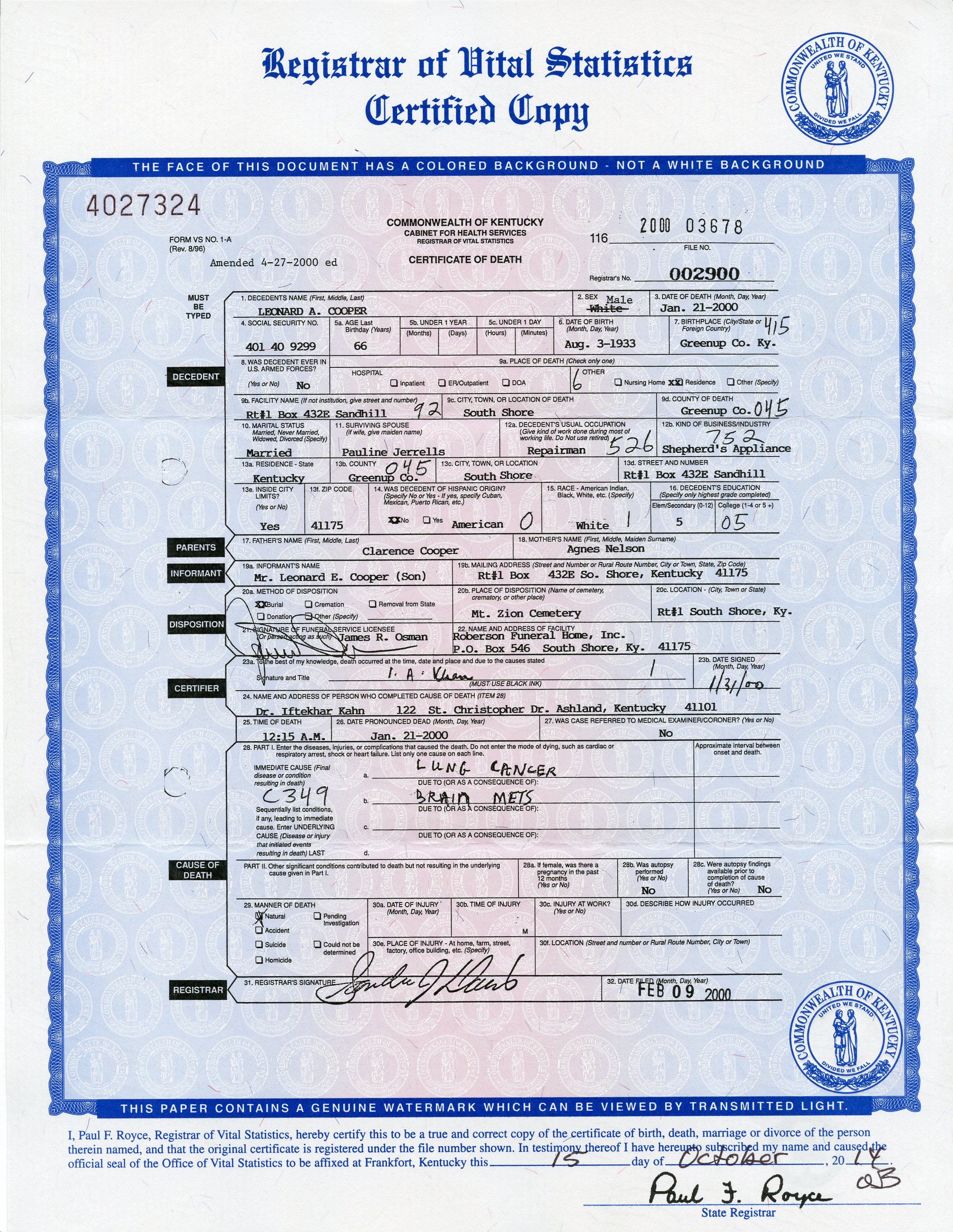 Nazdar digital genealogy archives relatives of the eicher family birth certificate of son 1946 aggie mae nelson is listed as the mother of gaylord cooper death certificate 1986 aggie mae nelson died on april 20 xflitez Gallery